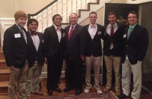 Pi Kappa Phi Fraternity members on the Student Government Association meet with UT Tyler President Dr. Rodney Mabry.