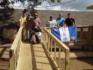 UT Tyler Pi Kappa Phi members construct wheelchair ramp for Smith County man