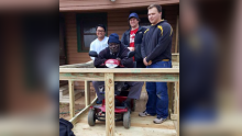 UT Tyler Pi Kapps brave cold temps to build wheelchair ramp