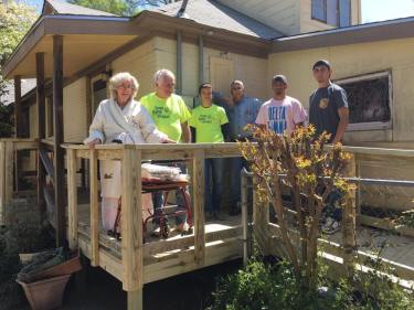 UT Tyler Pi Kapps help build wheelchair ramp just in time for Easter