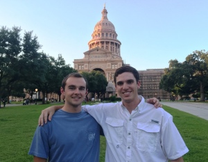 Miller and Conway pictured outside the Texas State Capitol in Austin.